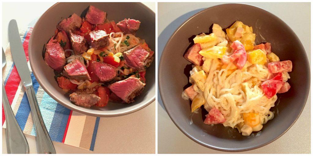 A gauche : Tomates, oignons, steack A droite : Saint Morêt, poivrons, oignon, dès de jambon